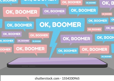 Vector illustration of smartphone and multiple OK Boomer chat bubbles represents social media conflict between baby boomers and younger generation Z and millennials, ignited by popular memes.