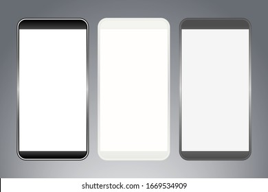 Vector illustration of smartphones with blank display.