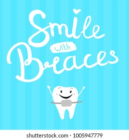 """Vector illustration of """"smile in braces"""" on a blue background. Happy tooth."""