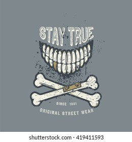 Vector illustration with smile and crossed bones hand drawn in vintage and grunge style. Ready for silkscreen T-shirt design template.