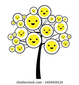 vector illustration of smile emoticons on the tree for positive attitude and good mood training visual