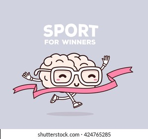 Vector illustration of smile pink brain with glasses runs through the tape to win on gray background. Creative cartoon brain concept. Doodle style. Thin line art flat design of brain for sport win
