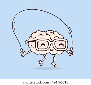 Vector illustration of smile pink brain with glasses jumping rope on blue background. Fitness cartoon brain concept. Doodle style. Thin line art flat design of character brain for sport, education