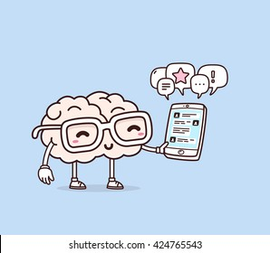 Vector illustration of smile pink brain with glasses holding phone on blue background. Creative cartoon brain concept. Doodle style. Thin line art flat design of brain for mobile communication