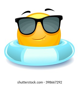Vector Illustration of Smiley Emoticon wearing floater