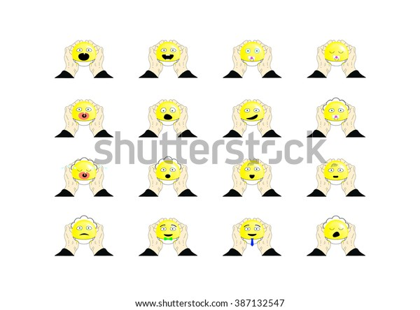 vector illustration of smiley faces on white background