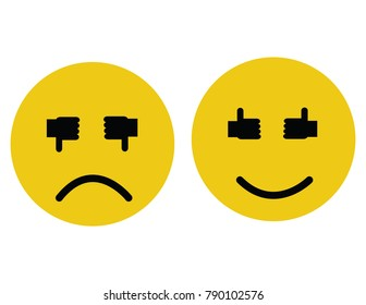 Vector illustration of smiley faces with thumbs up or down for eyes