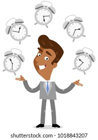 Vector illustration of a smiling asian cartoon businessman juggling with alarm clocks, symbolizing time management.