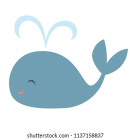 Vector illustration of a smiling blue whale