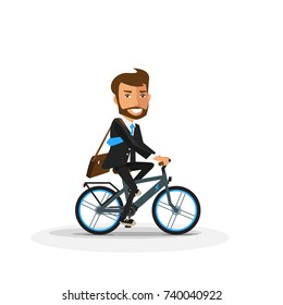 Vector illustration of smiling business man riding a modern electric bicycle in cartoon style isolated on white background. Cyclist in suit going to work by bike. Ebike future in urban transportation.