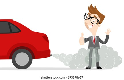 Vector illustration of smiling cartoon businessman giving thumbs up standing next to car in exhaust gases