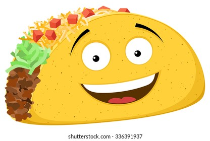 Vector illustration of a smiling cartoon taco.