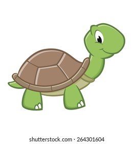 Vector illustration of a smiling cartoon turtle