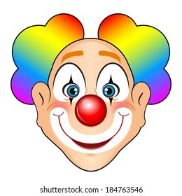 Vector illustration of smiling clown with colorful hair