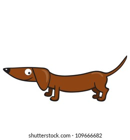 Vector illustration of smiling cute cartoon dachshund