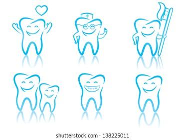 Vector illustration of smiling dental symbols