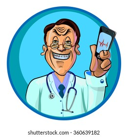 Vector illustration of smiling doctor holding in his hand the mobile phone with the electro cardiogram on the screen. Made in comic cartoon style.