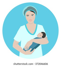 Vector illustration of a smiling doctor holding a newborn sleeping baby. Midwife and obstetrician medical concept. Nurse taking care of a child.