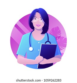 Vector illustration of smiling doctor woman with stethoscope in blue uniform holding folder in hands. Modern flat realistic style.