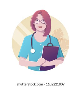 Vector illustration of smiling female doctor with stethoscope in blue uniform holding folder with documents in her hands. Modern flat realistic style.