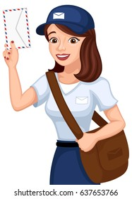 Vector illustration of a smiling female mail carrier.