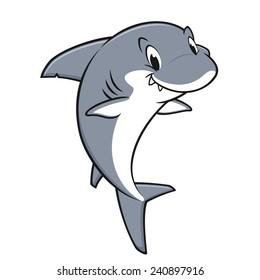 Vector illustration of a smiling friendly shark for design element