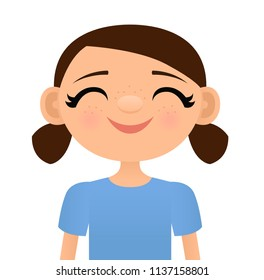 Vector illustration of a smiling girl with freckles on her nose and cheeks