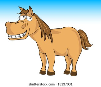 vector illustration of a smiling horse