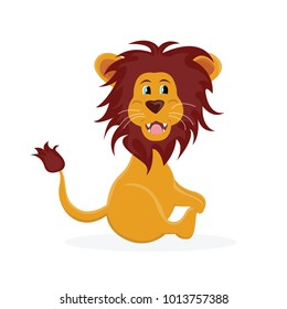 Vector illustration of smiling lion. Cartoon animal for child book.