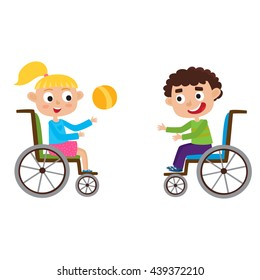 Vector illustration of smiling little boy and girl in a wheelchair playing with ball isolated on white. Cartoon happy disabled curly haired boy and blond girl