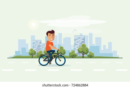 Vector illustration of a smiling man riding an electric bicycle in the city park in cartoon style. Cyclist enjoys trip on ebike. Urban skyline building landscape with trees behind the person on bike.