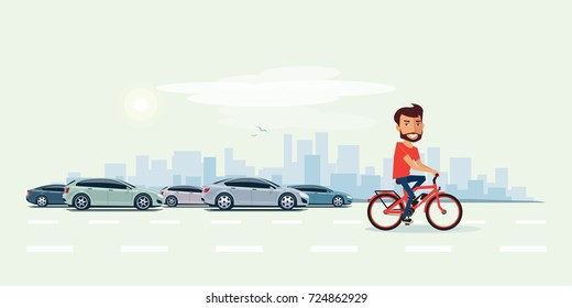 Vector illustration of smiling man riding an electric bicycle in the city with cars in cartoon style. Urban skyline building landscape with traffic jam behind the person on bike.