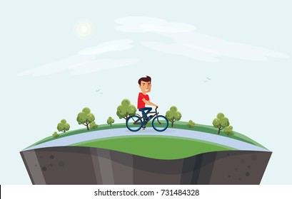 Vector illustration of a smiling man riding an electric bicycle in the city park nature in cartoon style. Healthy lifestyle cyclist enjoys trip on ebike in countryside. Earth globe section underneath.