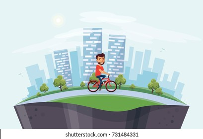 Vector illustration of a smiling man riding an electric bicycle in city park in cartoon style. Healthy lifestyle cyclist enjoys ebike with skyline building landscape. Earth globe section underneath.