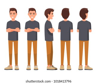 Vector illustration of smiling men in casual clothes with crossed arms. Cartoon realistic people set. Flat young man. Crossed hands. Front view man, Side view man, Back side view man, Isometric view.