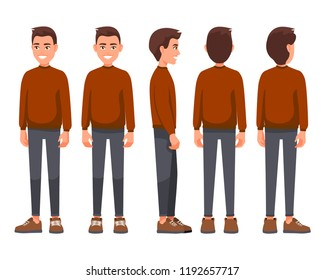 Vector illustration of smiling men in casual clothes. Cartoon realistic people set. Flat young. Front view, Side view, Back side view, Isometric view. Traditional Red Christmas sweater