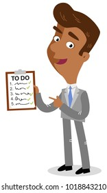 Vector illustration of a smiling and organized asian cartoon businessman holding a clipboard with a finished to-do list.