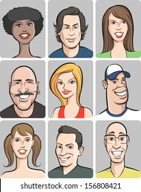 Vector illustration of smiling people faces collection. Easy-edit layered vector EPS10 file scalable to any size without quality loss. High resolution raster JPG file is included.