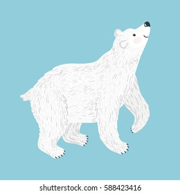 Vector illustration of smiling polar bear. Isolated on blue. Cute cartoon character.