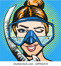 Vector illustration of smiling and winking young woman in scuba diving equipment. Diver female in retro pop art comic style.