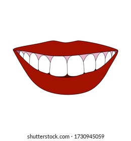 Vector illustration of smilling mouth in cartoon style isolated on white background