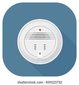 A vector illustration of a smoke alarm flat icon design. Smoke Detector Internet Icon Concept Fire fighting Symbol.