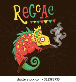 "Vector illustration with smoking chameleons in red, green, yellow colors with hand lettering ""reggae"" and background with marijuana or cannabis."