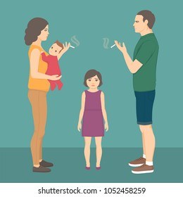 vector illustration of smoking parent. baby, child health. father smoke cigarette, addiction