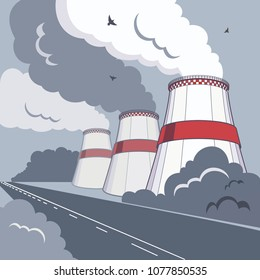 Vector illustration of smoking towers in dark colors. CO2 emissions from colling towers. Smoking pipes of thermal power plant with smoke clouds, birds and highway. Vector giant chimneys for eco poster