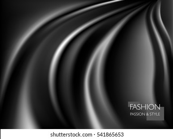 vector illustration of smooth elegant luxury black silk or satin texture. Can be used as background.