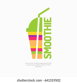 Vector illustration of a smoothie, with a glass and a straw. A poster on the topic of healthy eating in a bright, flat style