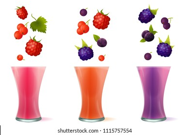 Vector illustration of smoothie healthy berry drinks in glass. Set of fresh beverage juices of raspberry, currant, blueberry and blackberry isolated on white background.