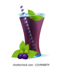 Vector illustration of smoothie healthy berry drink in glass. Fresh beverage juice of blackberry and mint isolated on white background.