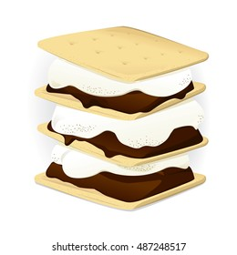 Vector illustration of a s'more. Campfire snack